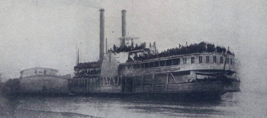 The steamboat Sultana, Arkansas, April, 1865