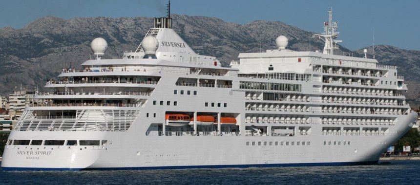 The cruise ship Silver Spirit at sea