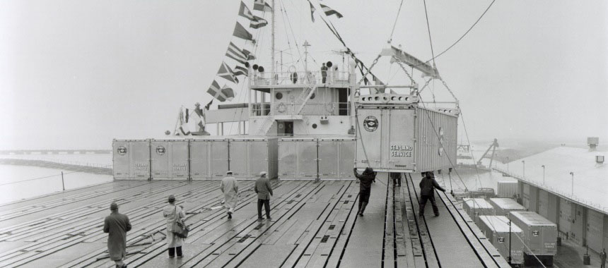 Loading a container on the deck of conteiner ship SS Ideal X in 1956