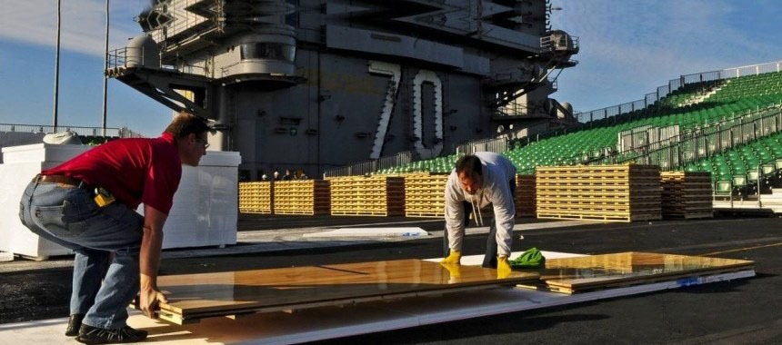 Basketball on the deck of an aircraft carrier