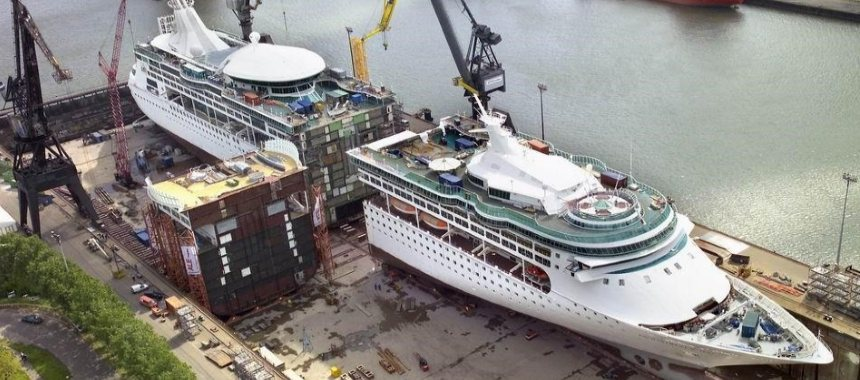 The cruise ship Enchantment of the Seas drydock